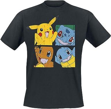 Pokémon - Pikachu & Friends Hombres Camiseta - Negro - Tamaño Large: Amazon.es: Ropa y accesorios