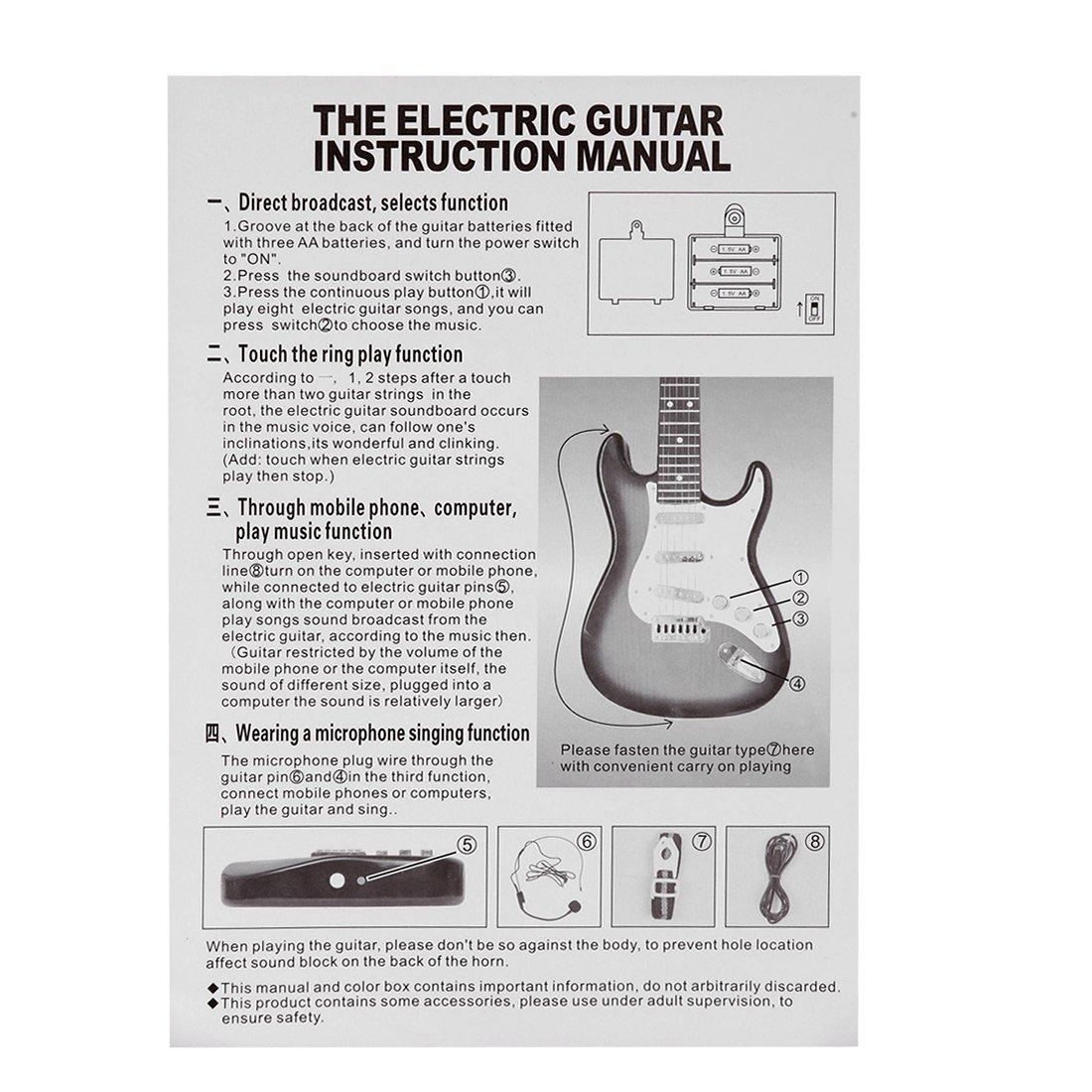 Tosbess Guitarra Electrica Juguete, Juguete de Guitarra Ukelele Musical para Niños, 4 Cuerdas Guitarra Clásica Juguete Eléctrico del Instrumento Música para ...