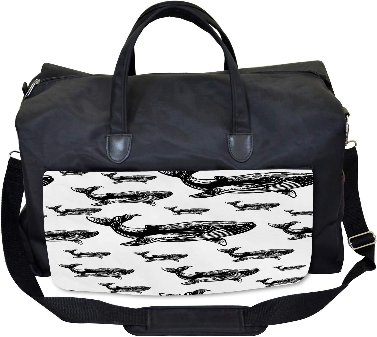 Hand Drawn Big Whales Large Weekender Carry-on Ambesonne Sealife Gym Bag