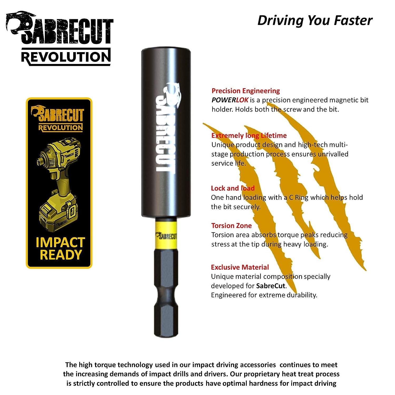 11 piezas SabreCut SCRKB11PZ2 profesional magnético 32 mm PZ2 Pozi Pozidriv puntas de impacto y 60 mm soporte de brocas en caja de almacenamiento ...