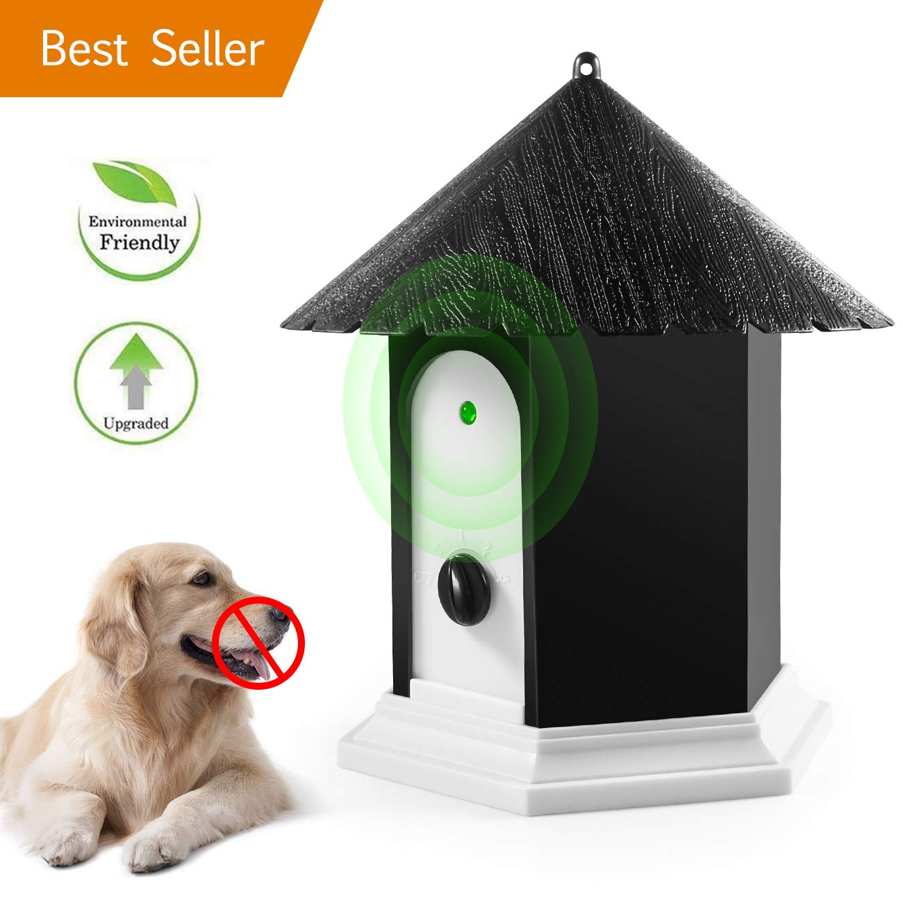 Anti Barking Device, 2018 New Bark Box Outdoor Dog Repellent Device with Adjustable Ultrasonic Level Control Safe for Small Medium Large Dogs, Sonic Bark Deterrents, Bark Control Device