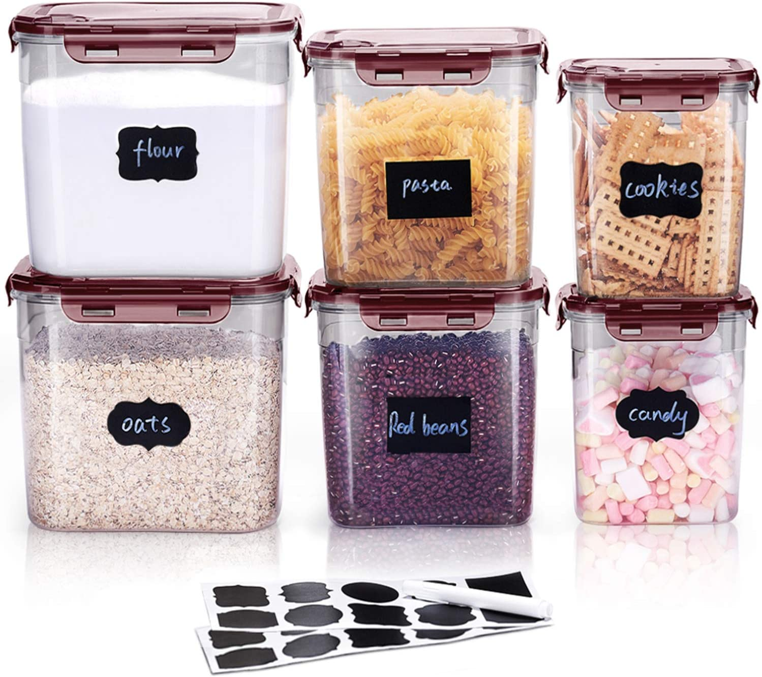 LARDERGO Cereal Container, 6 Pieces Plastic Flour Storage Containers, BPA Free Food Storage Containers with Lids Airtight for Sugar and Spaghetti - 20 Labels (Red)