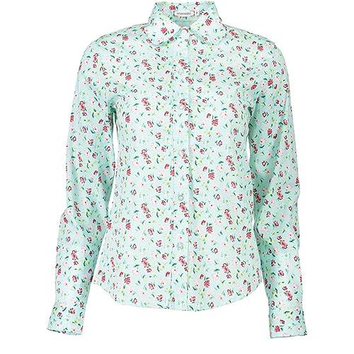 XueXian(TM) Mujer de Ocio Camisa con Patrón de Poco Azafrán de Moda Informal de Shirt