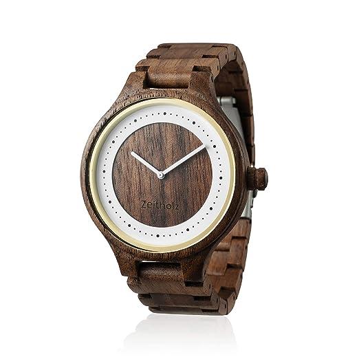 Reloj de madera ZEITHOLZ – Dohma - 100% de Madera de Nogal - Producto Natural