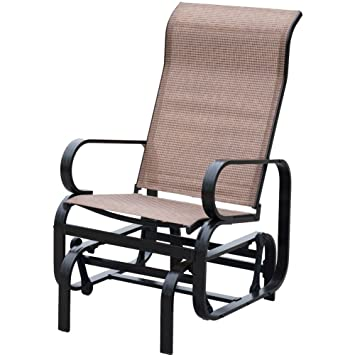 Beautiful PatioPost Sling Glider Outdoor Patio Chair Textilene Mesh Fabric, Brown