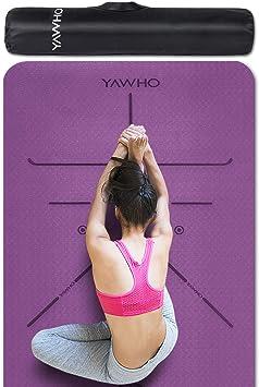 YAWHO Colchoneta de Yoga Esterilla Yoga Material medioambiental TPE,Modelo:183cmx66cm Espesor:6milímetros,Tapete de Deporte Grande y Antideslizante,Correas y Mochilas como Regalos (Violet): Amazon.es: Deportes y aire libre