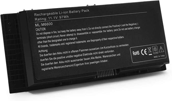 New M6600 11.1V 97Wh Laptop Battery Replacement for Dell Precision M4600 M4800 M4700 M6800 FV993 FJJ4W PG6RC 7DWMT JHYP2 K4RDX 9-Cell High Performance