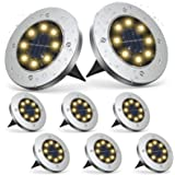 MAPLEZ Solar Ground Light 8 LED Solar Outdoor Lights Disk Light Waterproof for Garden Yard Patio Pathway Lawn Driveway…