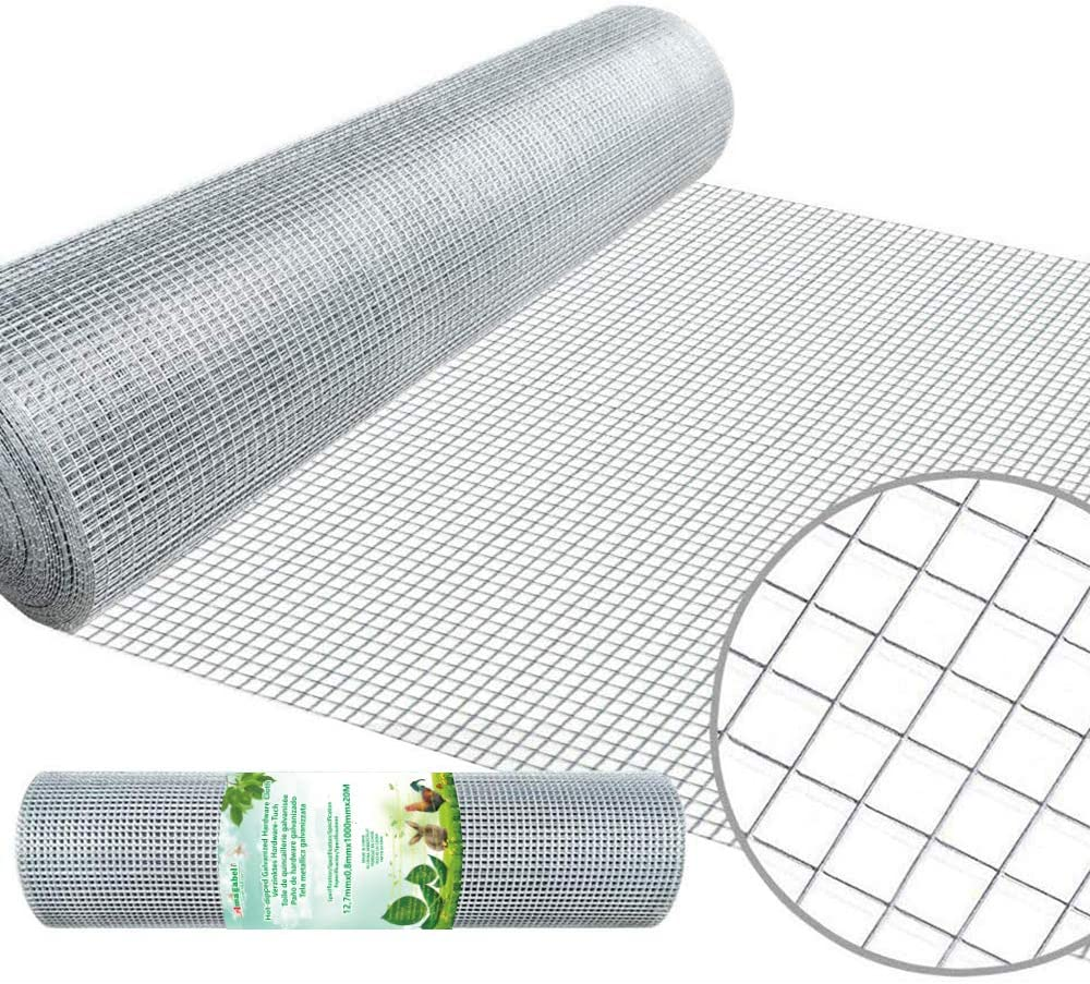 Amagabeli 40in X 65ft Hardware Cloth 1/2in Square Mesh Hardware Cloth Hot-dipped Galvanized Welded Wire Mesh Fencing Wire Diameter 0.8mm Wire Chicken Coop for Vegetables Garden Fruits Animal Enclosure