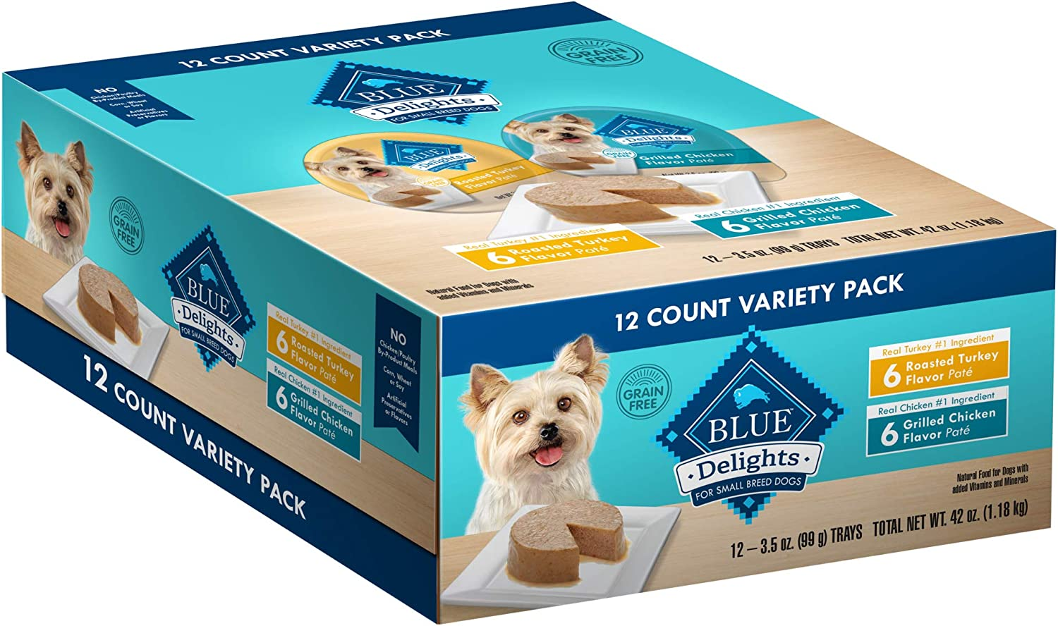Blue Buffalo Delights Natural Adult Small Breed Wet Dog Food Cups, Pate Style, 3.5-oz (Pack of 12)