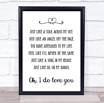 Amazoncom Like A Star Song Lyric Wall Art Quote Print Gift