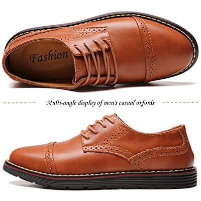 Men/'s Vintage Genuine Leather Brogues Shoes Wing Tip Casual Oxfords Formal Dress