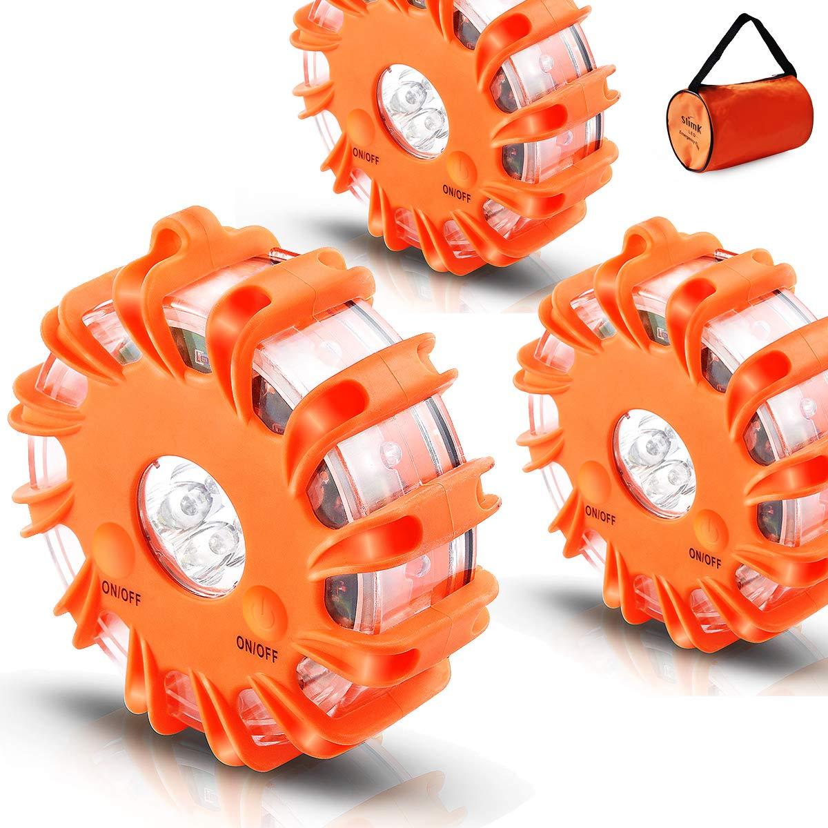 SlimK Red LED Safety Flare Roadside Emergency Warning, Car Safety Flares Kit Vehicles & Boat Flashing Beacon Light 3 Packs