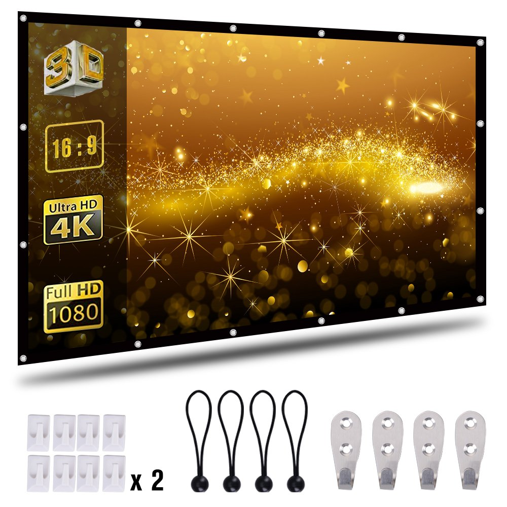 120 inch Projector Screen, 16:9 HD Foldable Portable Anti-Crease Indoor Outdoor Movie Screen Double Sided Projection for Home Theater Gaming Office 2.5lbs Only Coolwoo