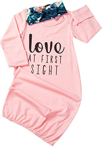 Newborn Baby Sleep Gown Cute Floral Letter Cotton Nightgowns Sleeping Bag with Headband