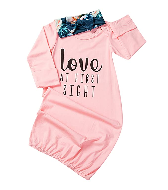 Newborn Baby Girl Love At First Sigth Floral Nightgowns Headband Sleepwear Sleeping Bag by Qiylii