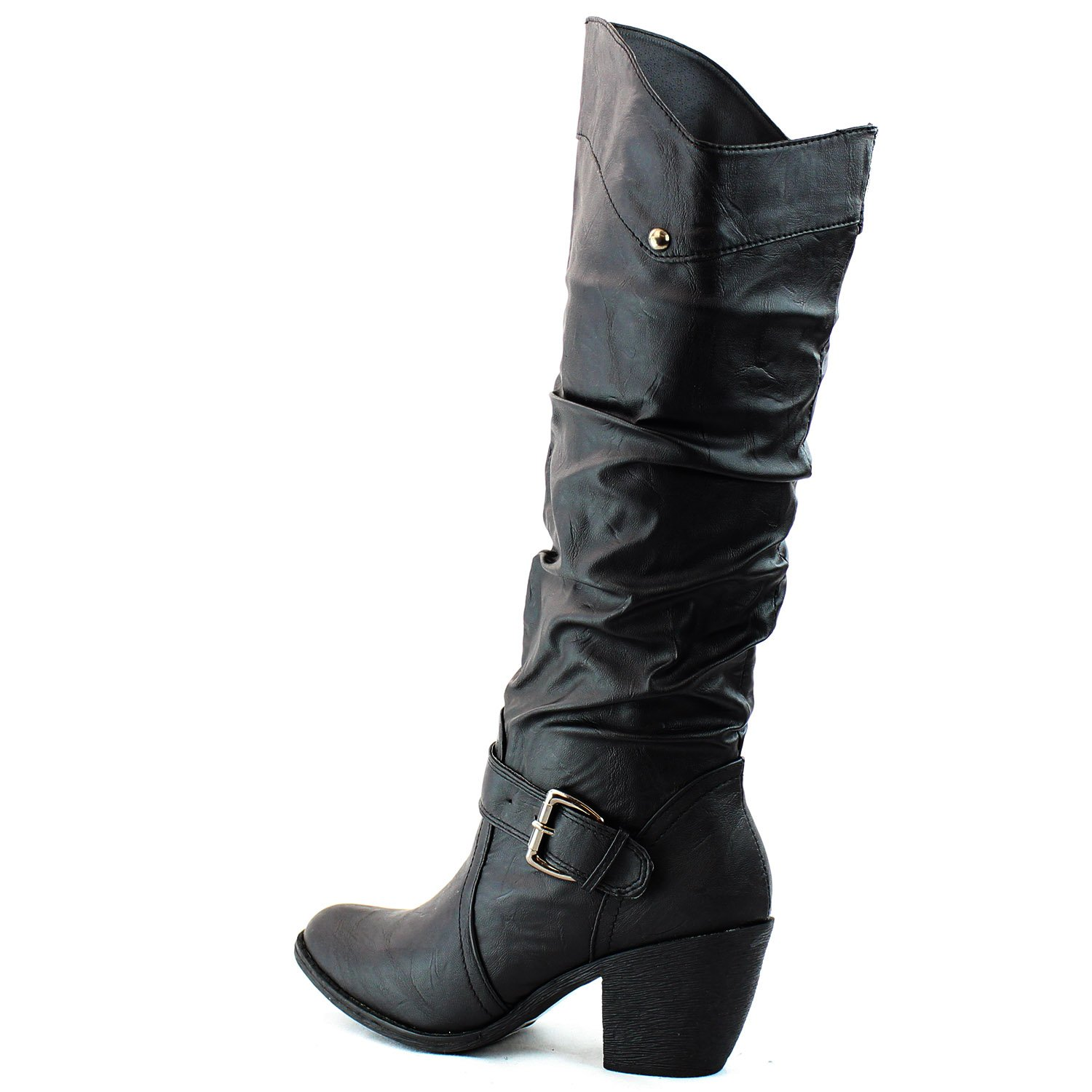 6ef301a3b33f Wild Diva Mid Claf Buckle Ankle Strap Cowboy Boots Round Toe Knee High  Combat Fashion Dress Casual Cowgirl Shoes