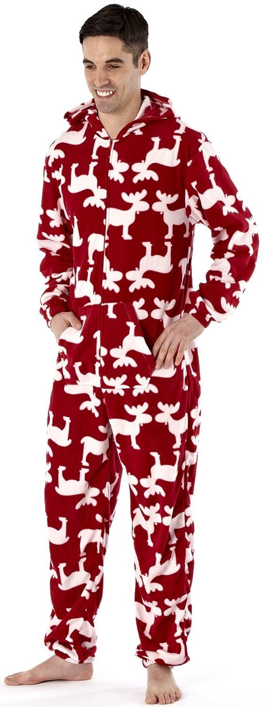 Para hombre diseño de reno pijama aborregado con capucha con texto de todo en uno de ciervo en pared de diseño de pijama Fancy diseño de alce e ...