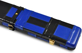 Genuine Black Blue Pattern Leather Hand Made Cue Case for 3/4 Jointed Snooker Pool Cue and Extension by Peradon