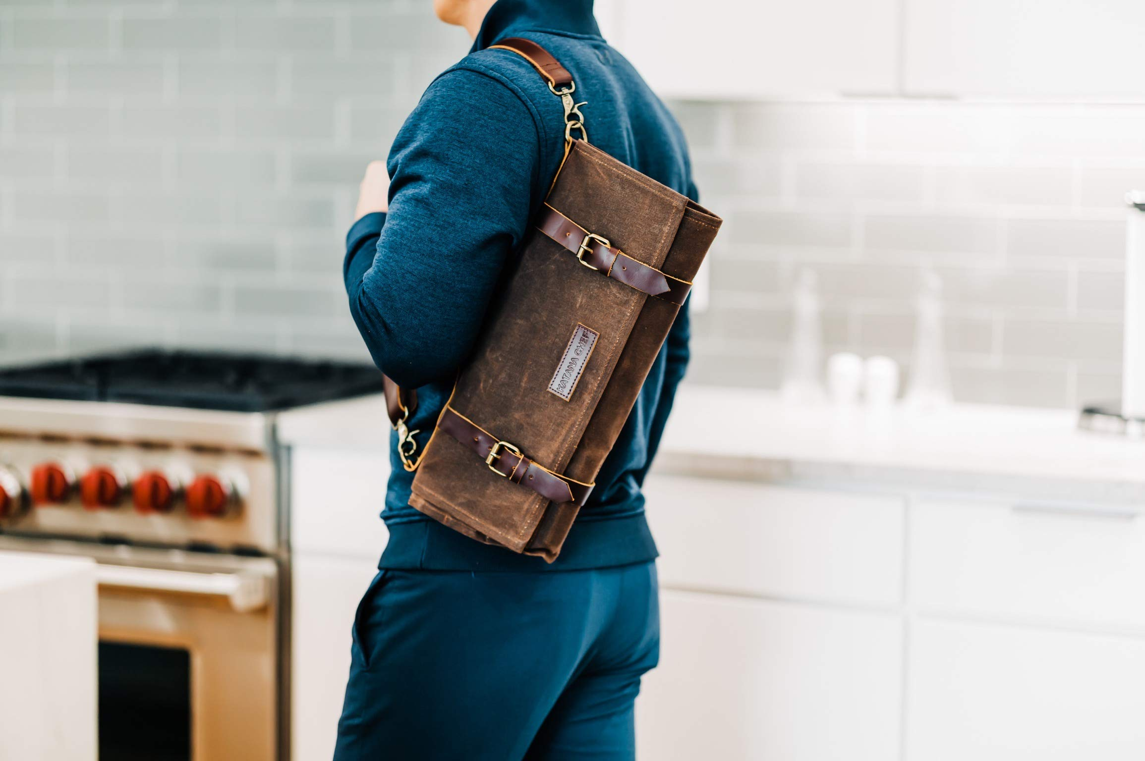 Chef's Knife Roll Bag Durable Waxed Canvas Carrier Stores 8 Knives PLUS Detachable Storage Unit for Culinary Accessories | Portable Chef Knife Case with Leather Shoulder Strap | Knives not Included by Katana Chef (Image #7)