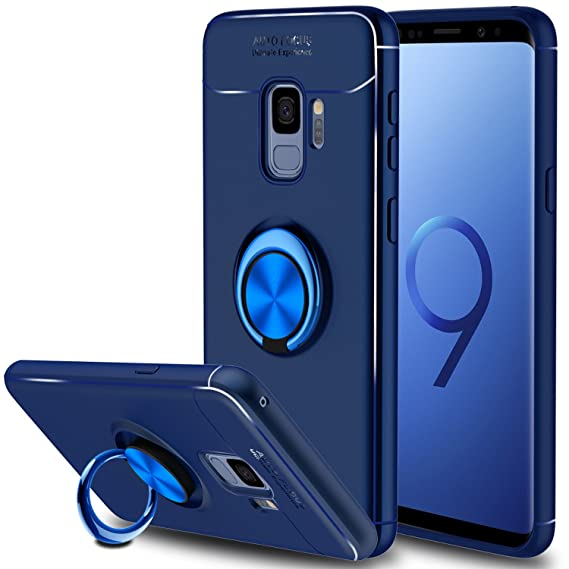 timeless design 6829d d753e Galaxy S9 Case, Elegant Choise Hybrid Slim Ring Holder Shockproof Kickstand  Soft Protective Case Fit Magnetic Car Mount for Samsung Galaxy S9 (Blue)