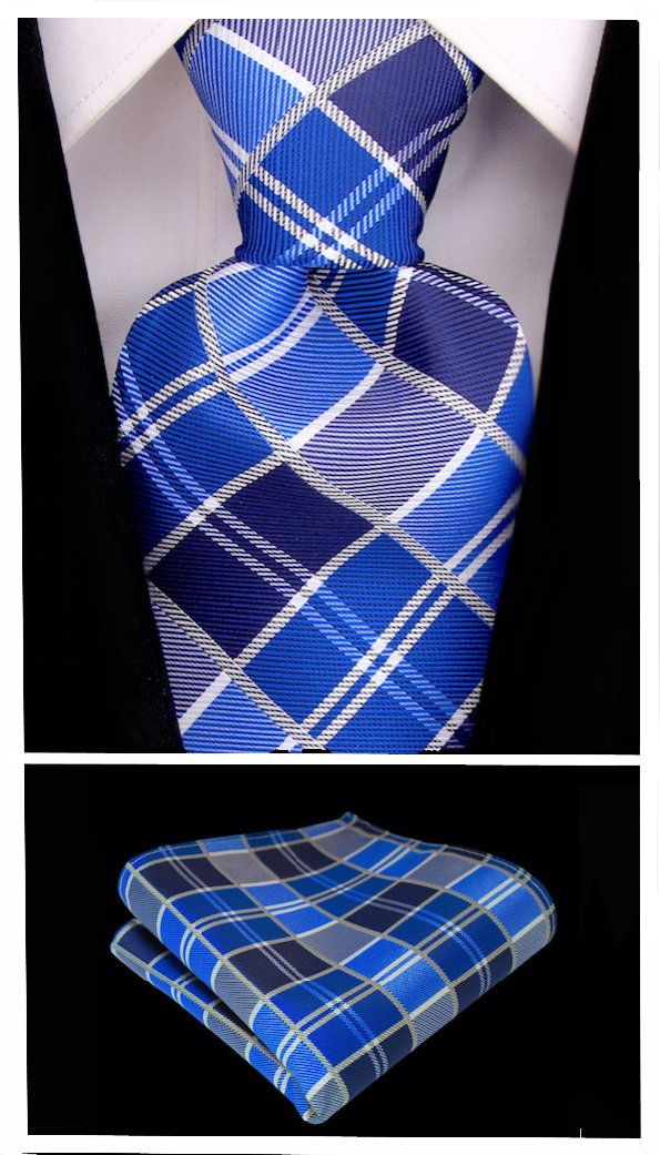 Plaid Ties for Men - Woven Necktie - Blue w/Gray