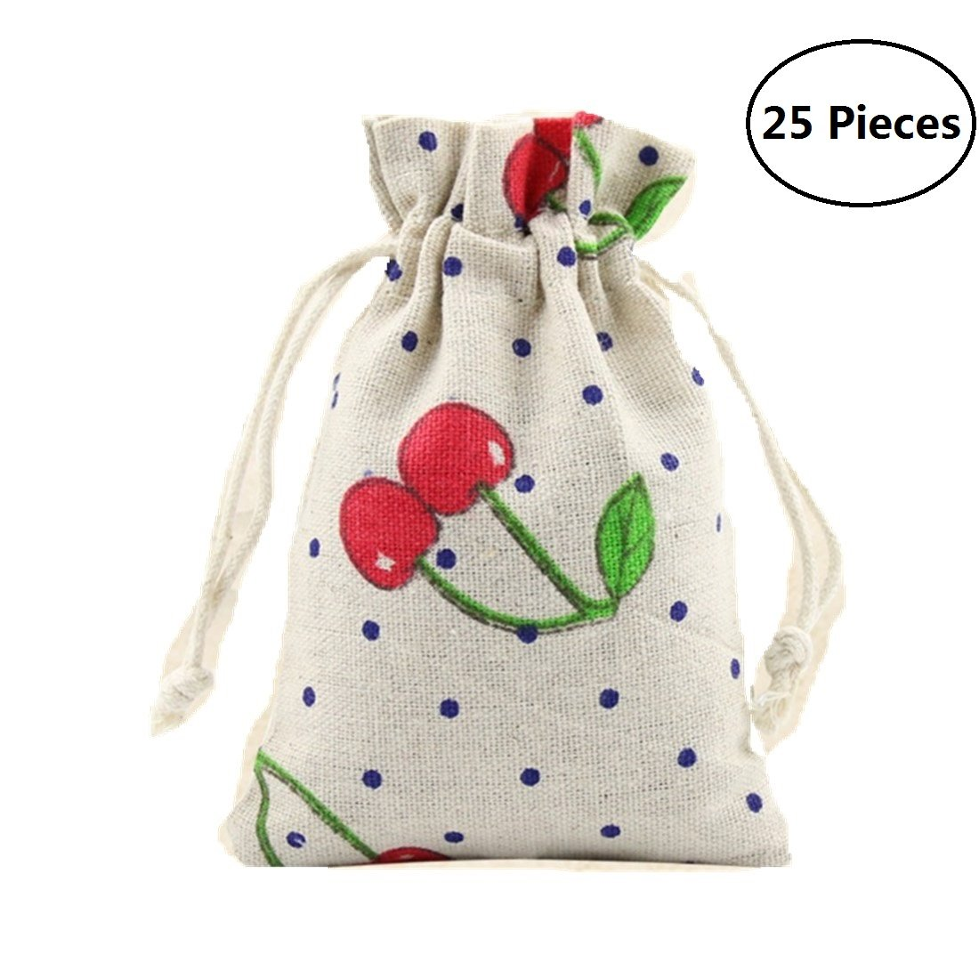 Tsuen 25 Pcs Burlap Bags with Drawstring Gift Bags for Wedding Party, Arts and Crafts Projects, Jewelry Pouches, Candy Bags, Birthday Parties Shower Christmas Favor, Lots of 25 (Cherry Pattern)