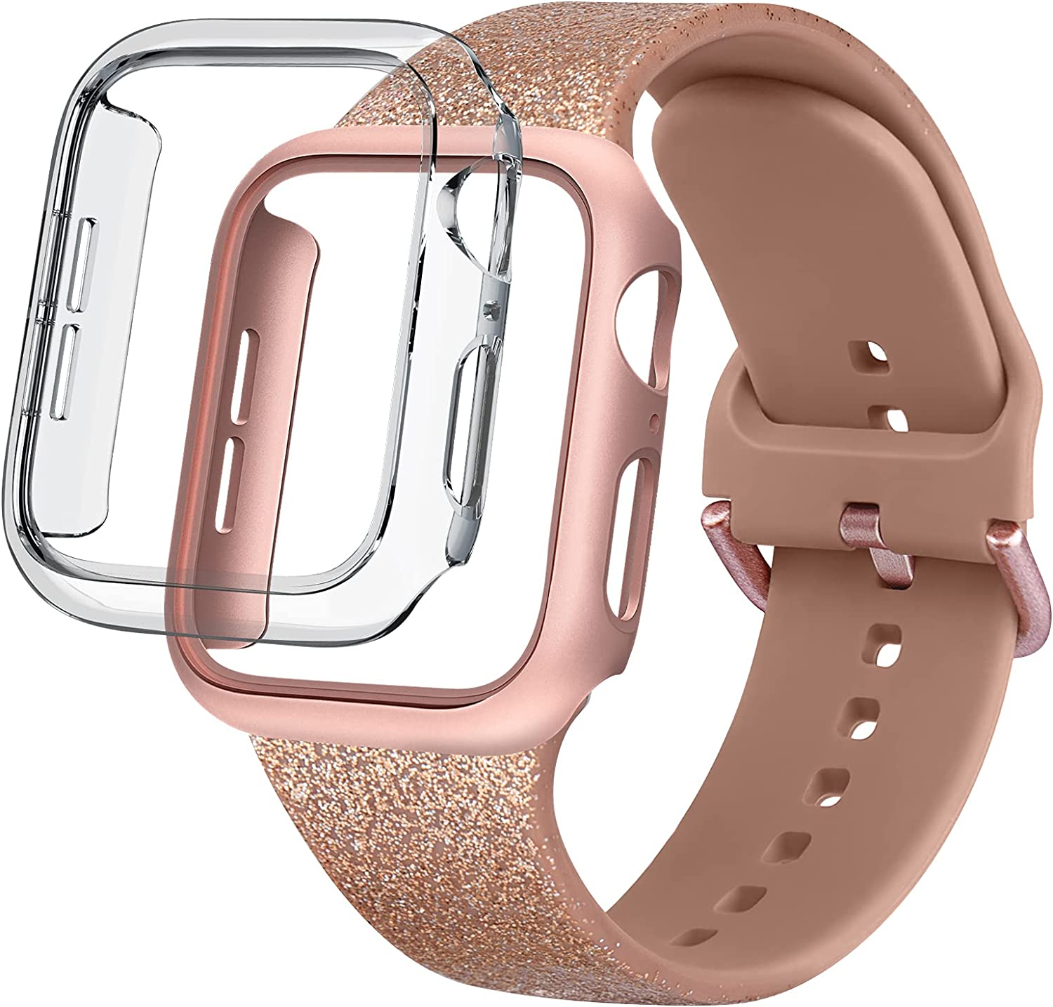 YILED Compatible for Apple Watch Band 40mm 44mm with Case, Soft Silicone Replacement Wristband Strap & 2 Pack Hard PC Bumper Case Protective Cover Frame for iWatch Series 6 5 4 SE for Women Men