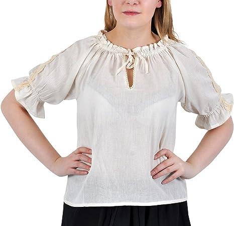 Blusa Medieval - de Mujer - Manga Corta - con Encaje y Ribetes de Ganchillo - Escote Ajustable - Tejido de algodón Ligero - Blanca - S: Amazon.es: Ropa y accesorios