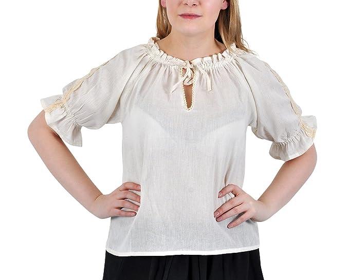 Blusa medieval - de mujer - manga corta - con encaje y ribetes de ganchillo - escote ajustable - tejido de algodón ligero - blanca - XXXL: Amazon.es: Ropa y ...