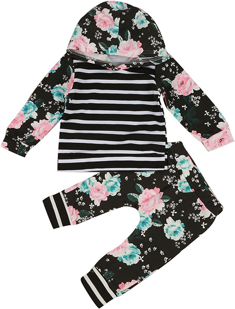 1-5Y Infant Baby Toddler Girl Floral Stripe Hooded Shirt Top /& Pants Outfits Set 5-6T