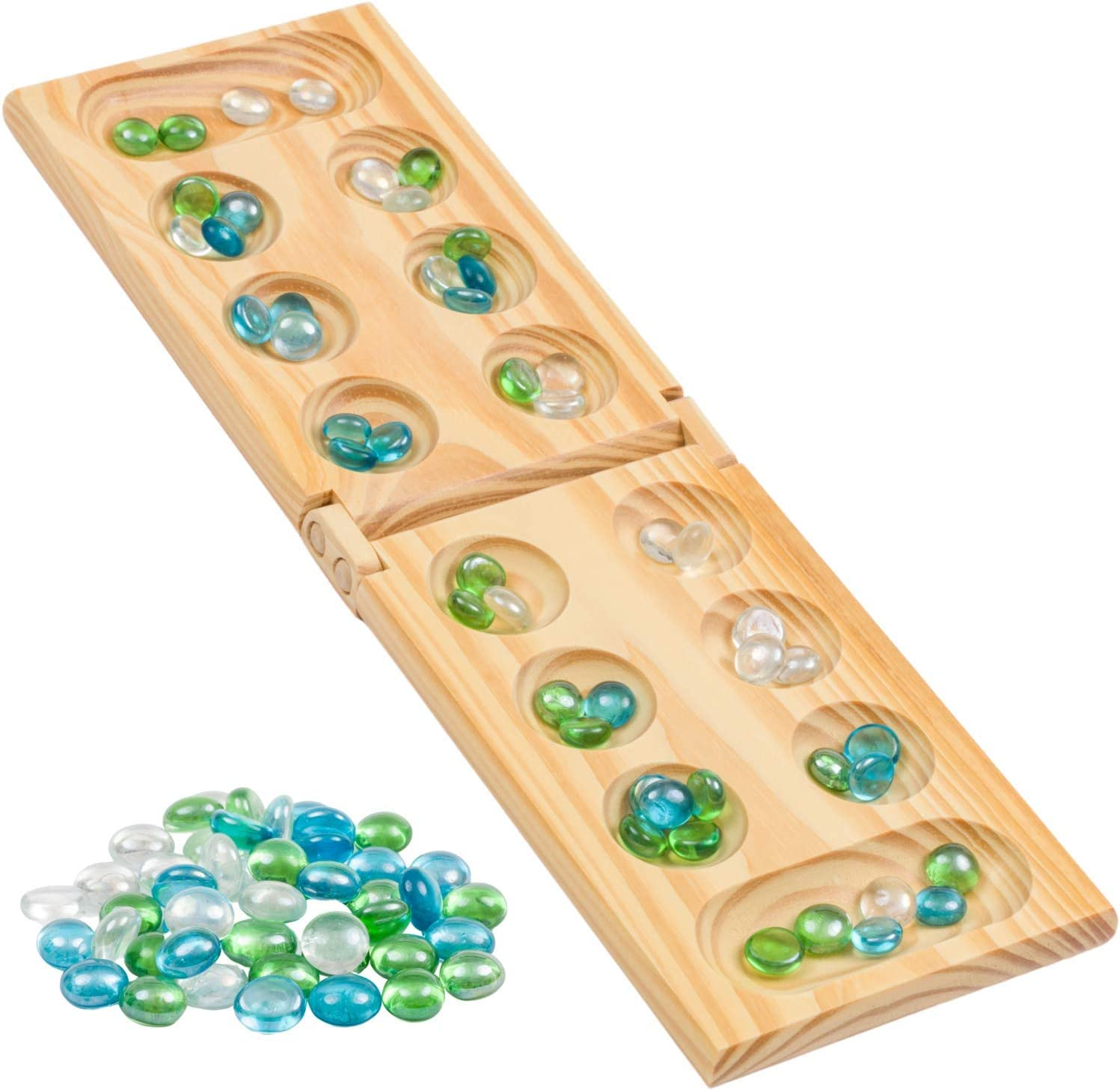Regal Games Foldable Wooden Mancala Board Game with 48 Glass Stones, for Ages 8 to Adult