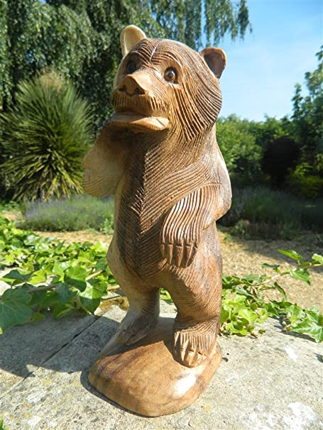 Thai Gifts Wooden Bear Carving Standing Grizzly Bear With Fish