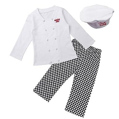 inlzdz Disfraz de Cocinero para Bebé Niño 3Pcs Chaqueta + ...