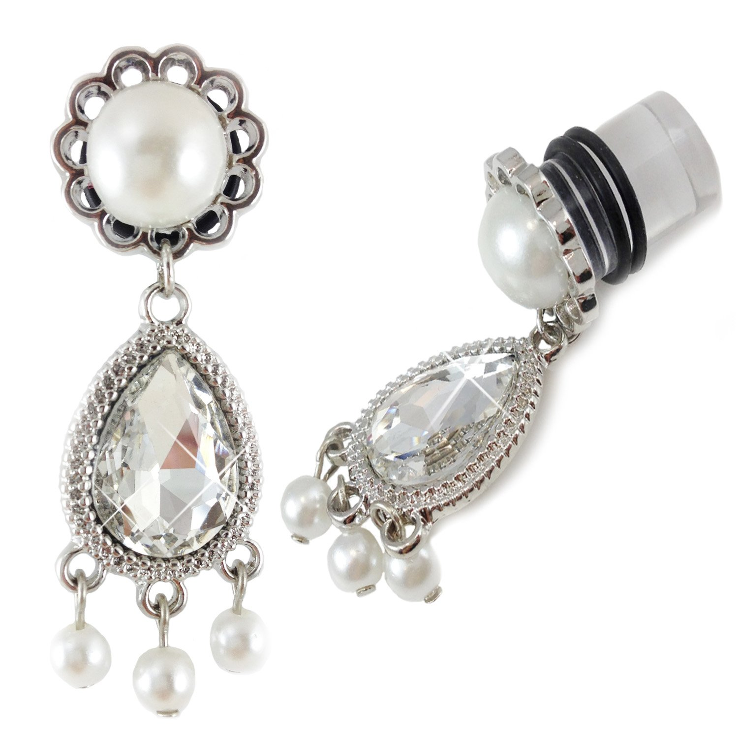 00G Pair of Stainless Steel CZ Dangle Ear Plugs Sparkles Brillantly Gauge Gear® CZ_DNGL_PRL