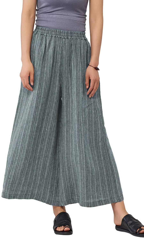 Les umes Ladies Womens Linen Wide Leg Pants Stripe Elastic Waist Baggy Loose Culottes Pants Light Blue Gray Stripe M by Les umes