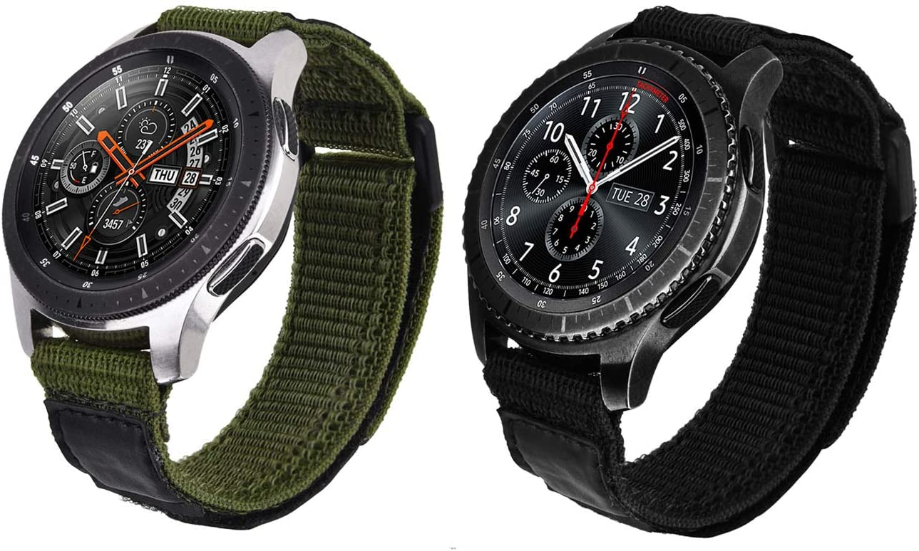 V-MORO Nylon Strap Compatible with Galaxy Watch 46mm Bands/Gear S3 Frontier Band Men 22mm Soft Breathable Woven Loop Replacement for Samsung Galaxy Watch 46mm/Gear S3 Smartwatch Black Army Green