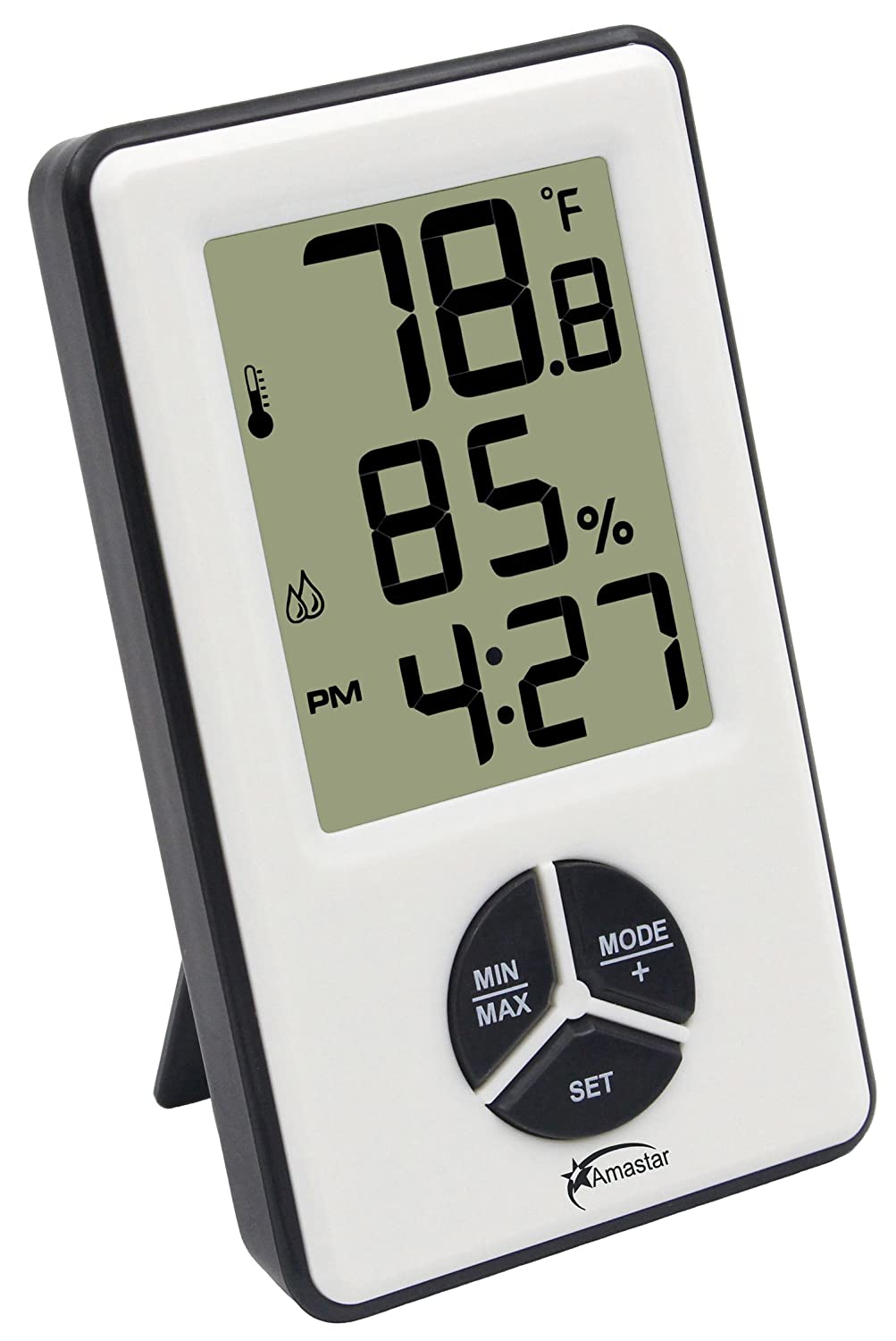 Amastar A0412 Indoor Hygrometer Thermometer Clock Portable Digital Temperature Humidity Monitor with Time Alarm Amastar Trading