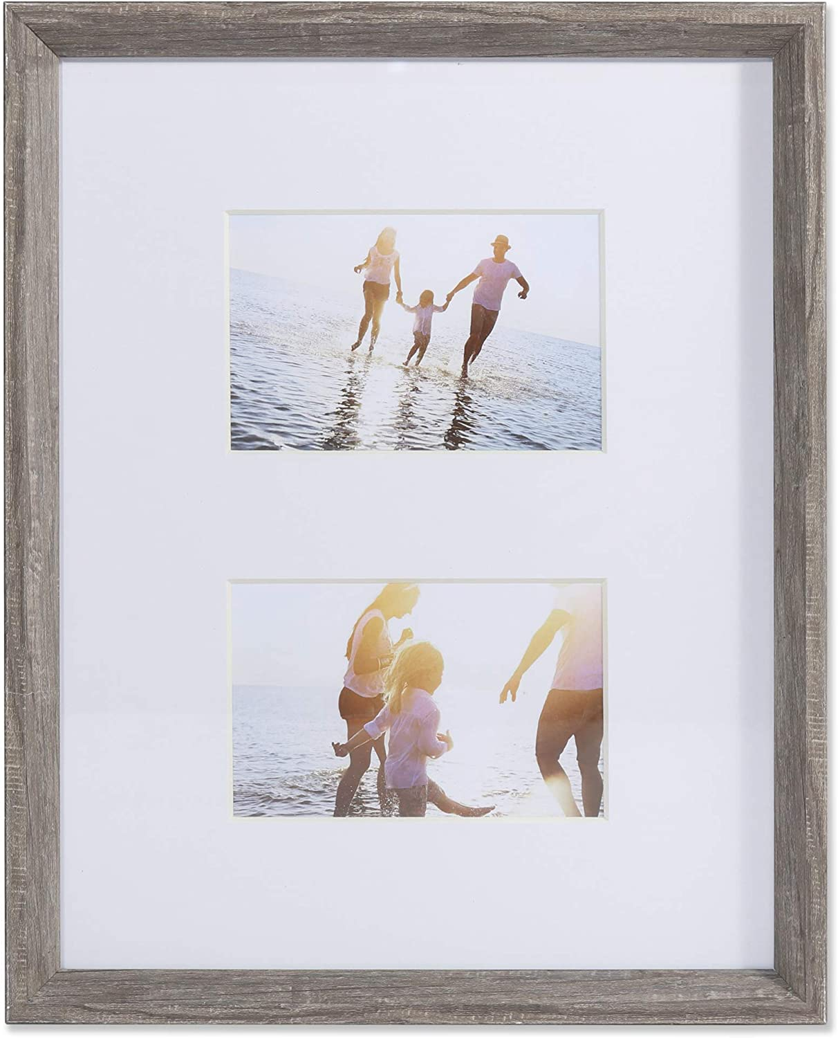 Lawrence Frames 4x6 Wide Border Double Matted Gallery Gray 11x14 Picture Frame