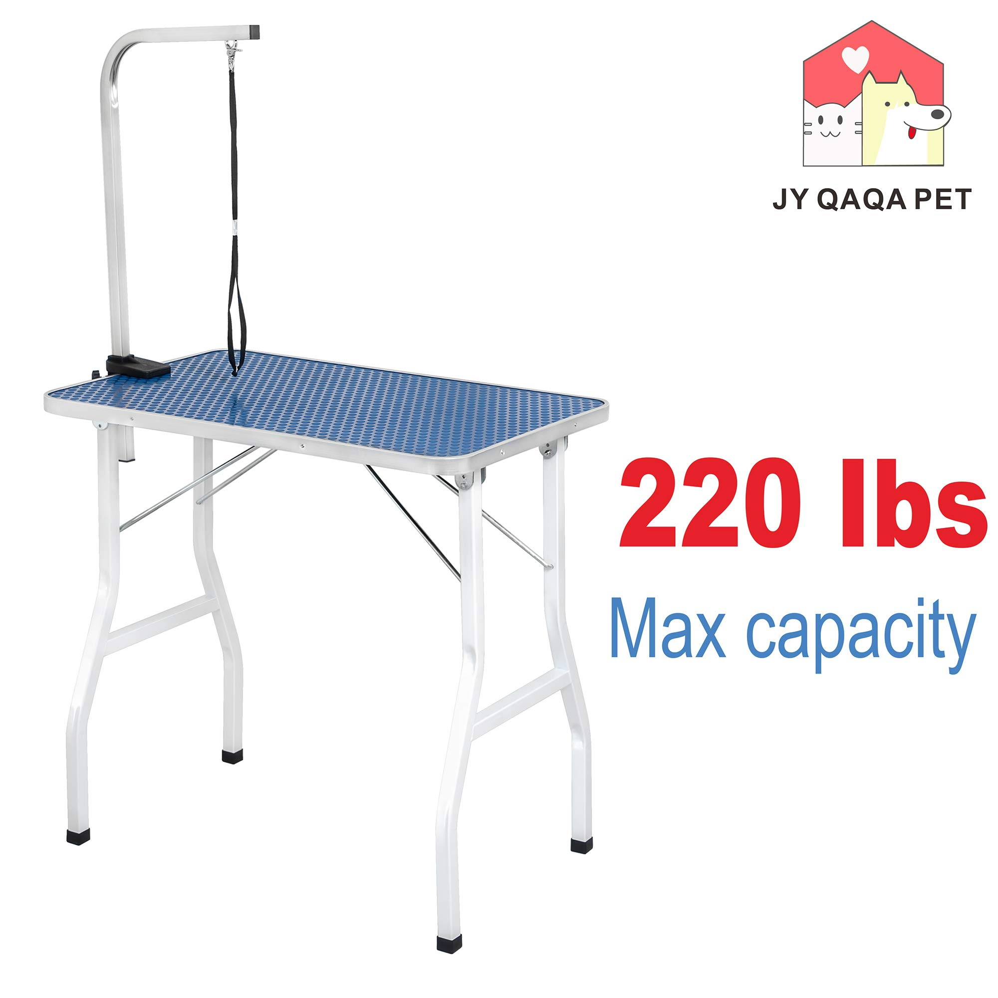JY QAQA PET 32'' Professional Foldable Pet Dog Grooming Table with Adjustable Arm,Maximum Capacity Up to 120lbs