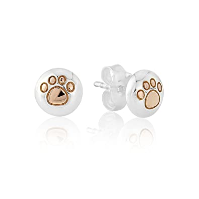 Gemma J 14ct Rose Gold and Sterling Silver Paw Print Earrings - from the Gemma J 'Woof' Collection 1Hmi7m5H