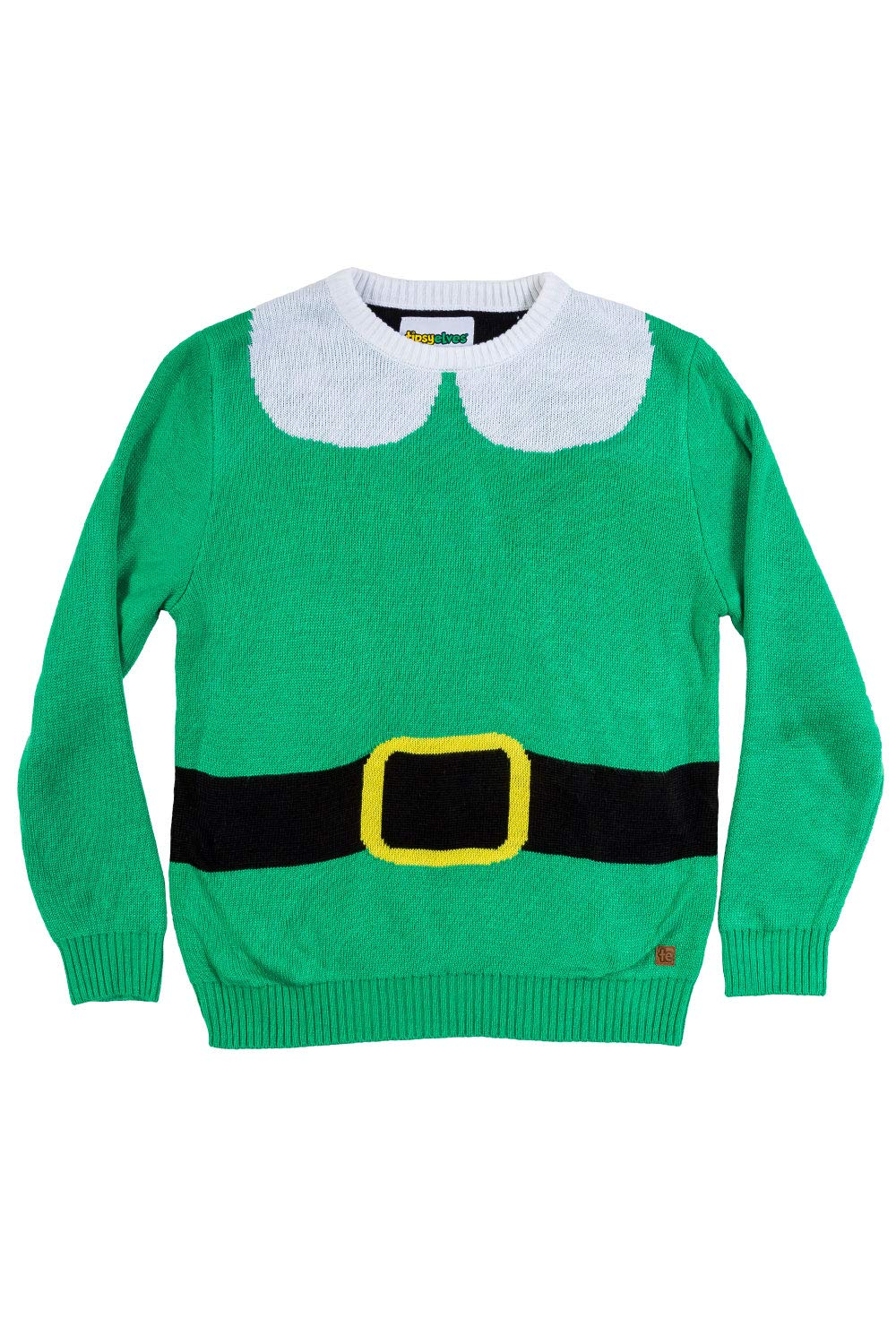 Tipsy Elves Youth Elf Ugly Christmas Sweater - Cute Christmas Sweater for Child: X-Small Green