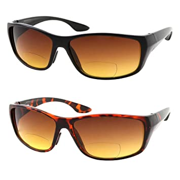 19bc6dab08e 2 Pair Bifocal Sun Reader Sport and Wrap Around Reading Sunglasses - Amber  Tint Great for