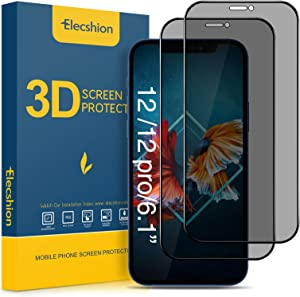 Elecshion True 28° Privacy Screen Protector Compatible with iPhone 12/iPhone 12 pro(6.1