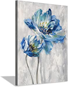 "Flower Artwork Canvas Wall Art: Abstract Bright Blue Lotus Floral Picture Giclee Print on Canvas for Bathroom (12"" x 16"" x 1 Panel)"