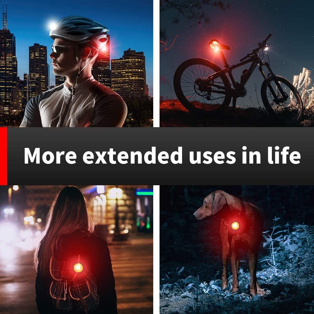 2 USB Cables and 2 Strap Included USB Rechargeable Bike Light Set,Super Bright Front Headlight and Rear LED Bicycle Light,500mah Lithium Battery,4 Light Mode Options