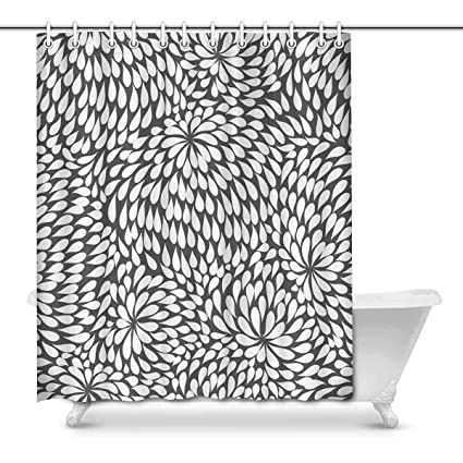 Image Unavailable Not Available For Color INTERESTPRINT Black And White Pattern Print Polyester Fabric Shower Curtain