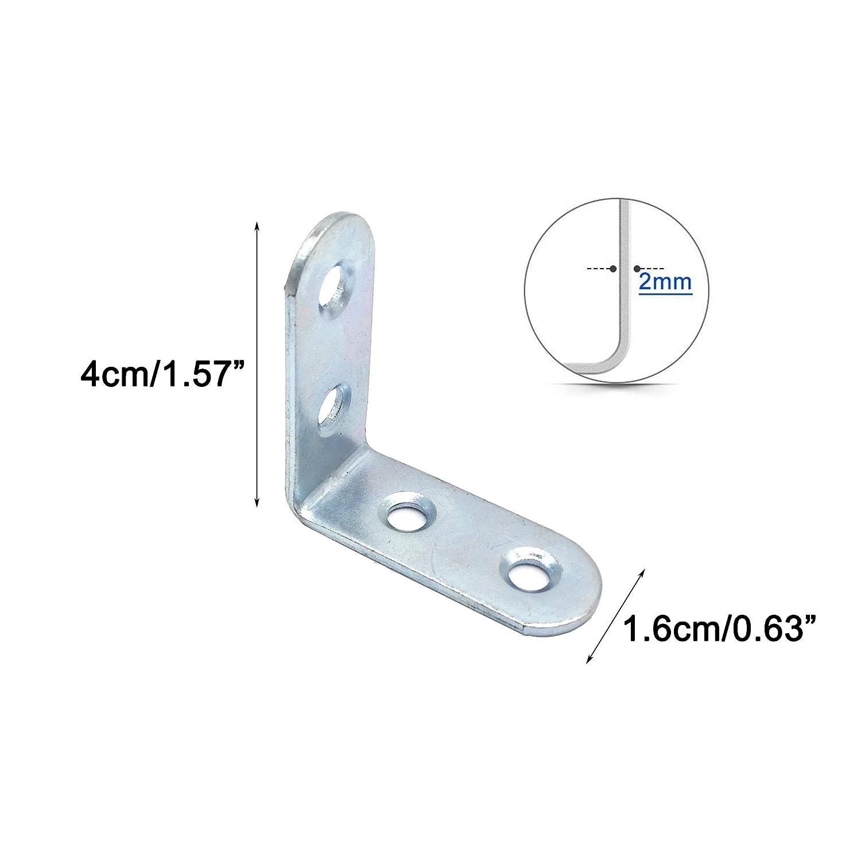 Lofekea 80 Pack Corner Angle Bracket,20mm x 20mm Corner Brace Silver Tone Joint Bracket Fastener with Screws