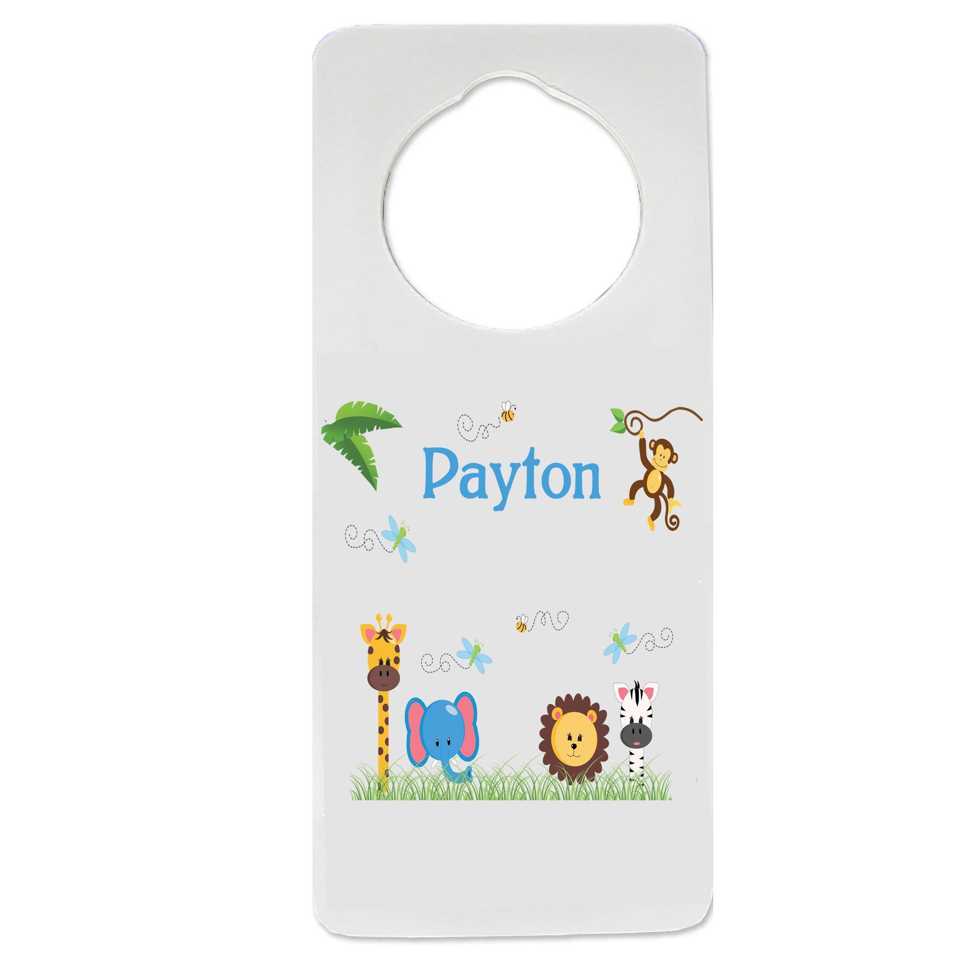 Personalized Nursery Door Hanger with Jungle Animals Boy design
