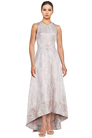 81ff8a63e18 Theia V-Neck High Low Brocade Racerback Evening Gown Dress at Amazon ...